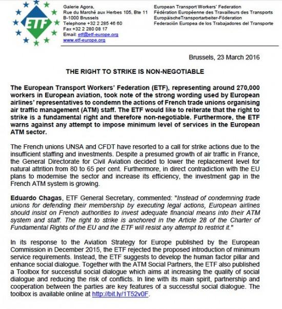 Comunicado de la ETF sobre el derecho de huelga
