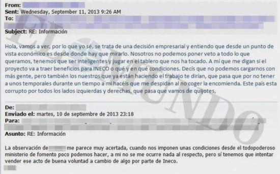 Correos internos desvelan 'contratos condicionados' en la empresa Ineco