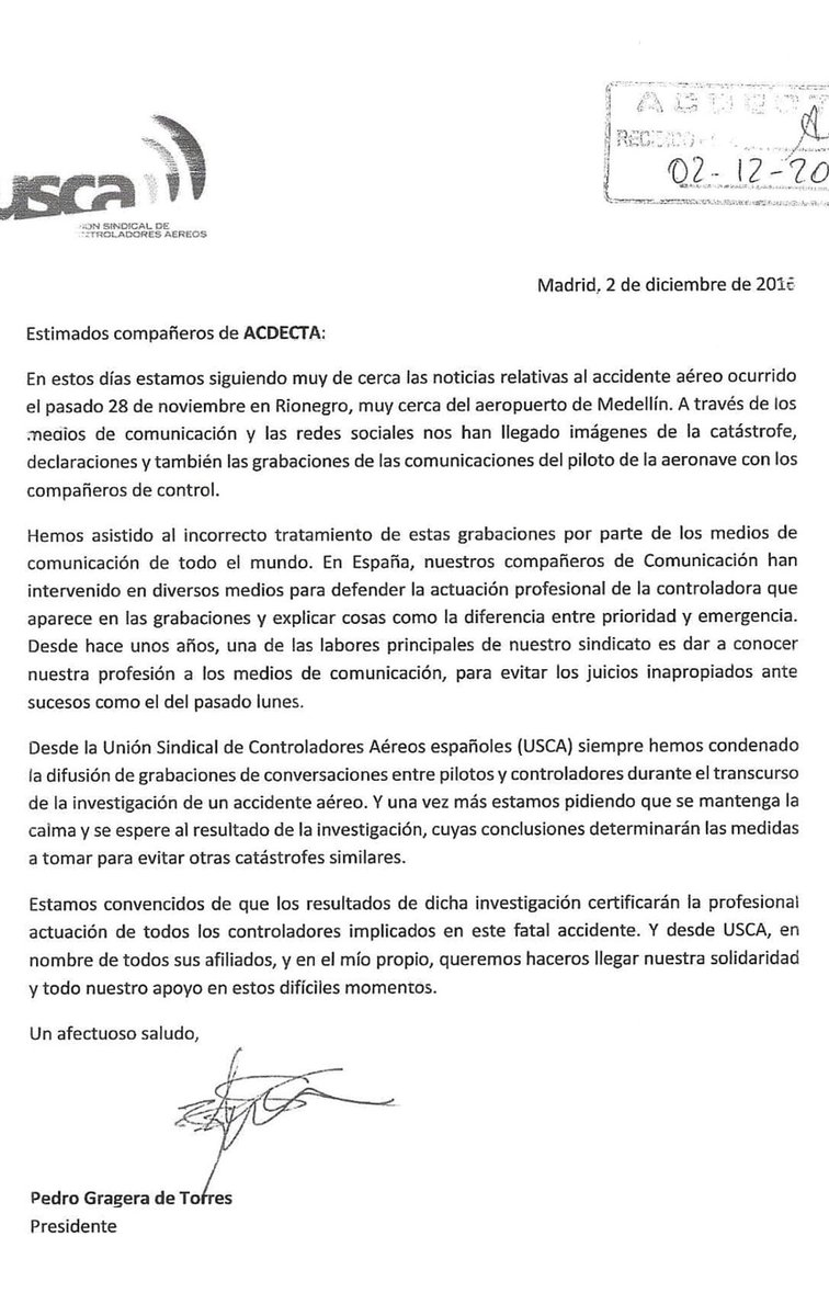 Carta de apoyo del presidente de USCA a los controladores aéreos colombianos