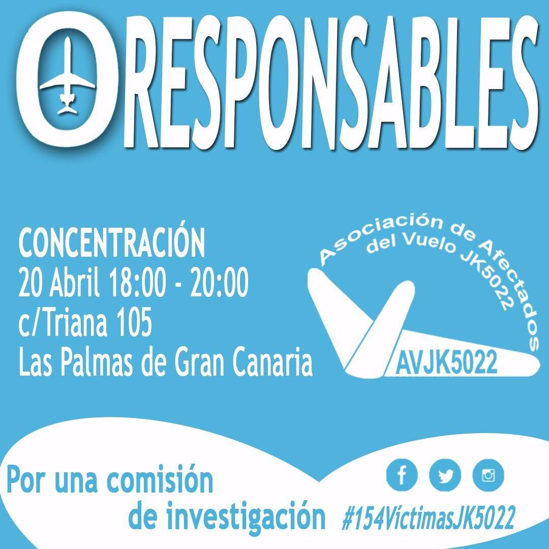 Por una Comisión de investigación del accidente del Spanair 5022. Concentración día 20 de abril en Las Palmas.