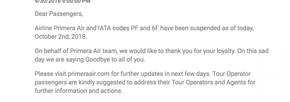 Primera Air anuncia el cese de sus operaciones
