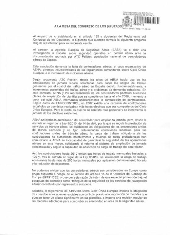Izquierda Unida pregunta en el Parlamento si existe algún documento que avale la carga de trabajo impuesta a los controladores por la ley 9/2010