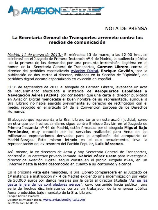 La Secretaria General de Transportes, Carmen Librero, arremete contra los medios de comunicación
